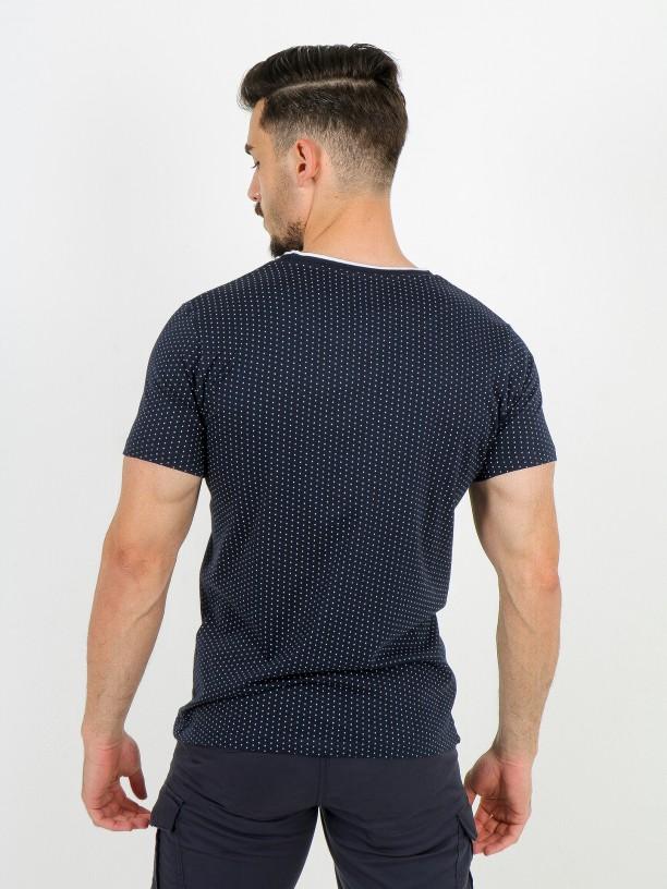 T-shirt de malha algodão com padrão