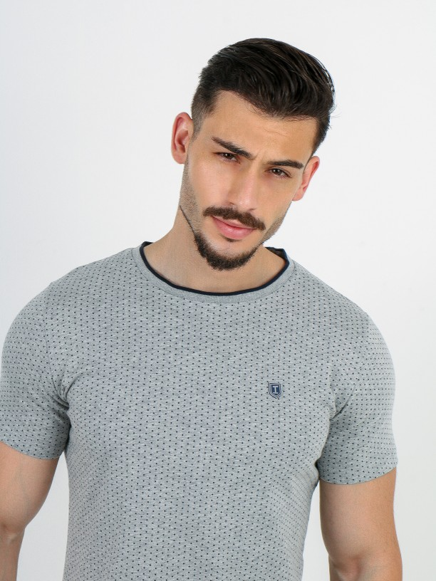 Cotton knit t-shirt with pattern