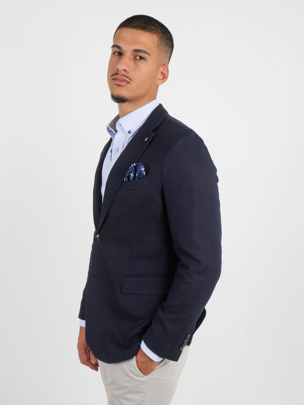 Fine cotton microstructured blazer