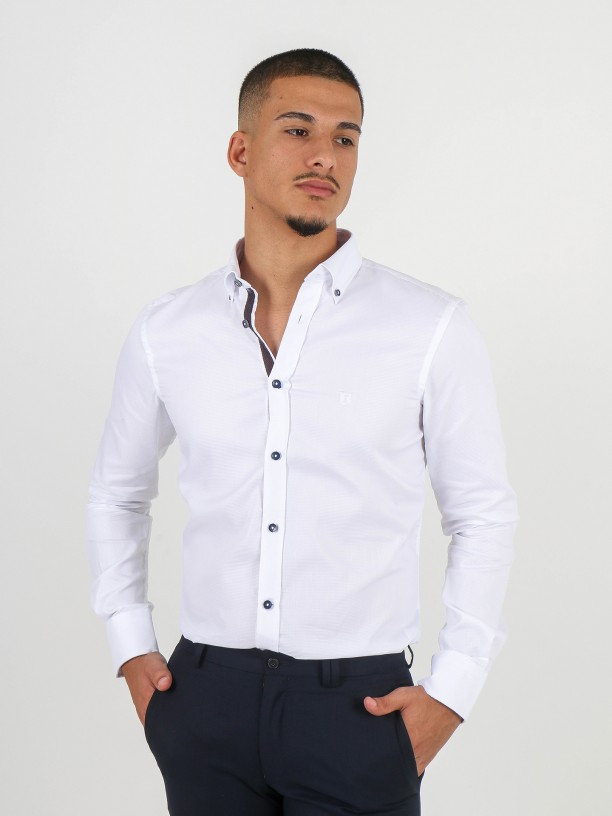 Casual micro structured shirt