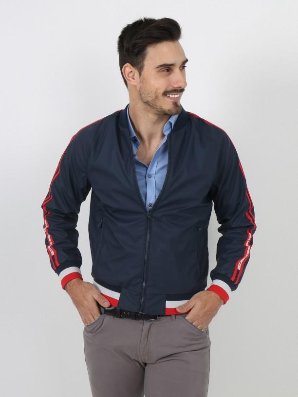 Side stripes technical jacket