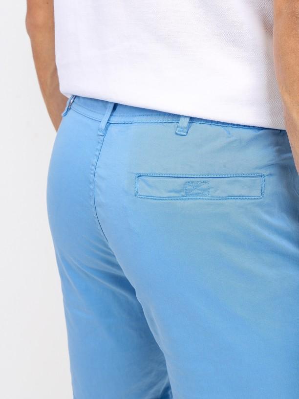Cotton elastic chino shorts