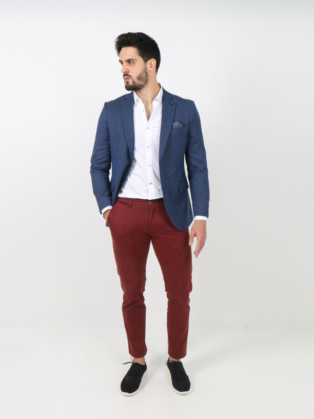 Micro pattern blazer with elbow pads