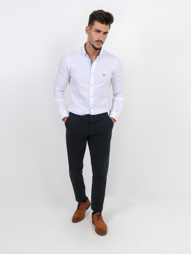 Slim fit elastic cotton chino trousers