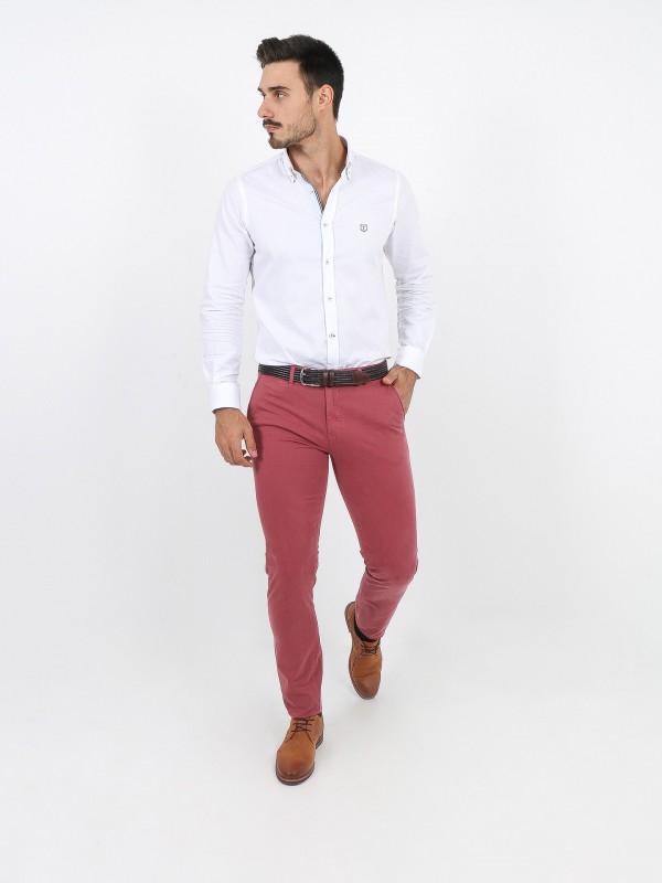 Pantalones chino slim fit algodón elástico