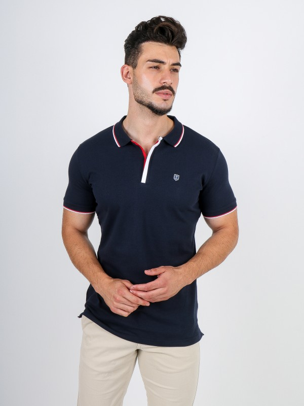 Cotton polo shirt with zip