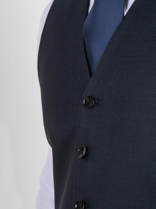 Colete clássico com padrão 100% lã