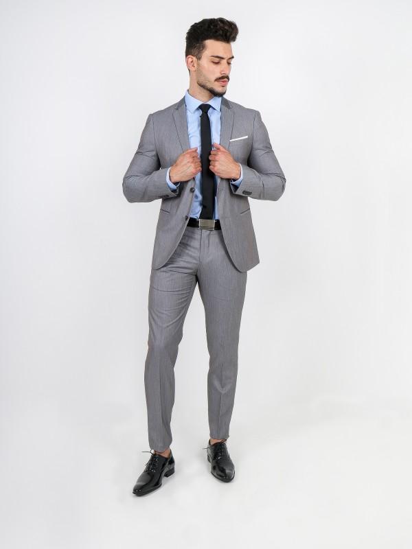 Slim fit plain suit with lapel detail