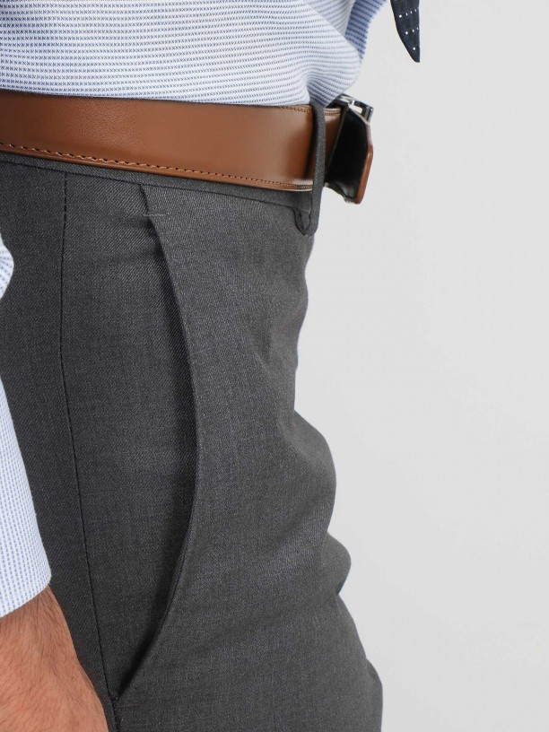 Regular fit plain classic trousers