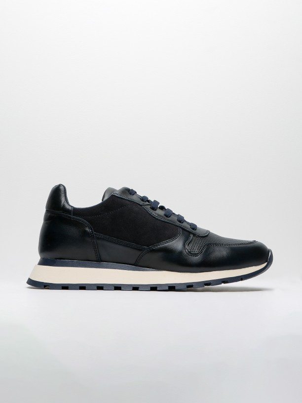 Combined leather sneakers