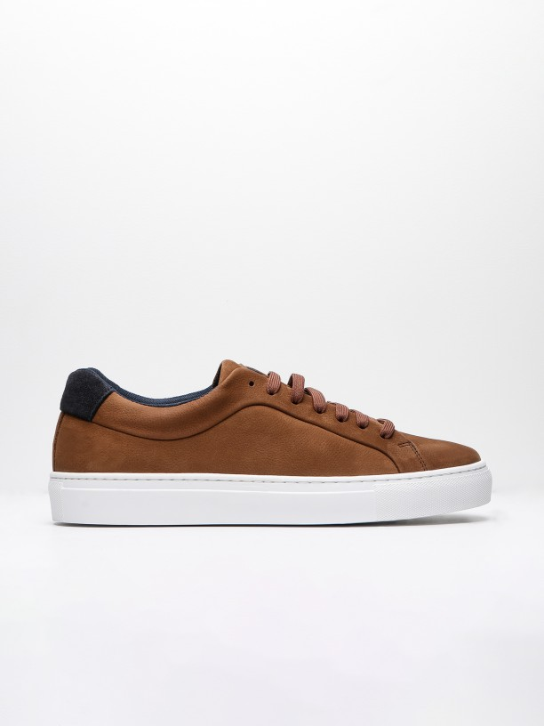 Leather sneakers with heel tab detail