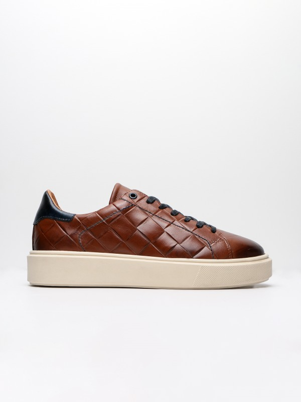 Leather sneakers with pattern