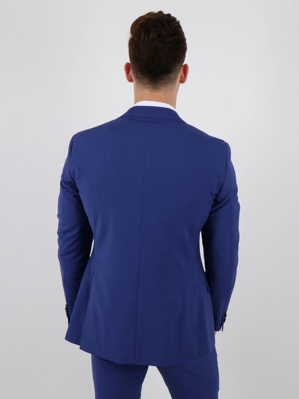 Slim fit plain wool suit