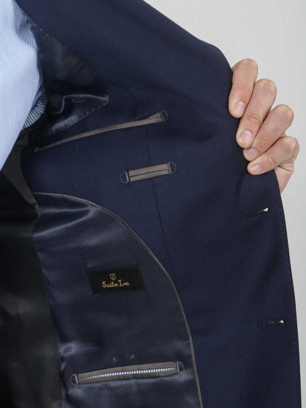 Regular fit plain suit 100% virgin wool