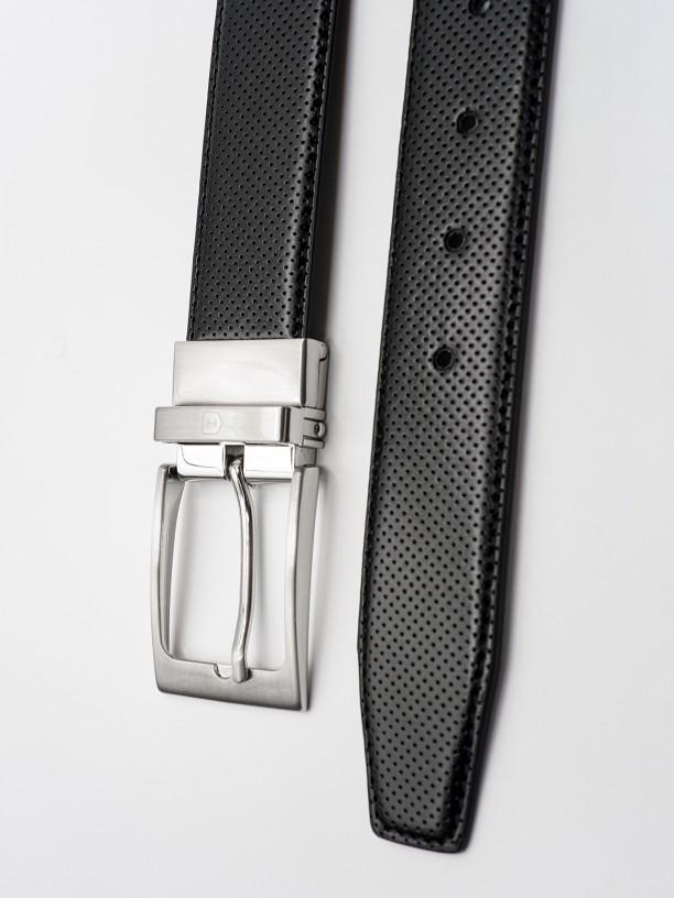 Reversible leather elegant belt