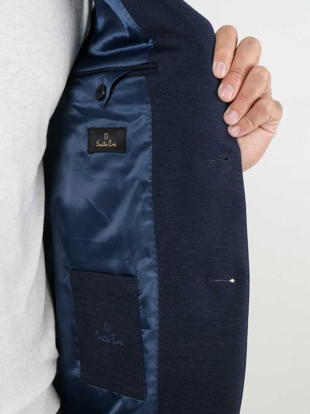 Slim fit plain knit fabric suit