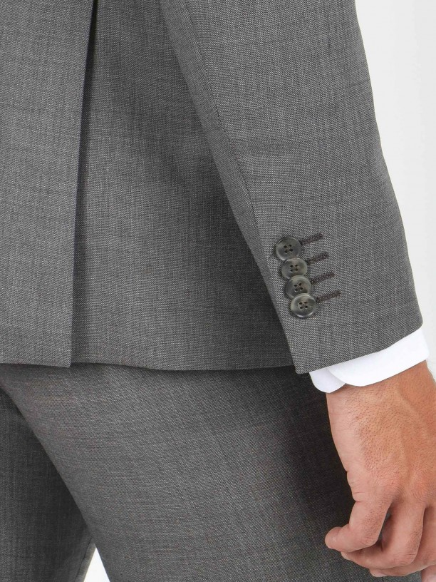 Traje de micro estampado regular fit 100% lana