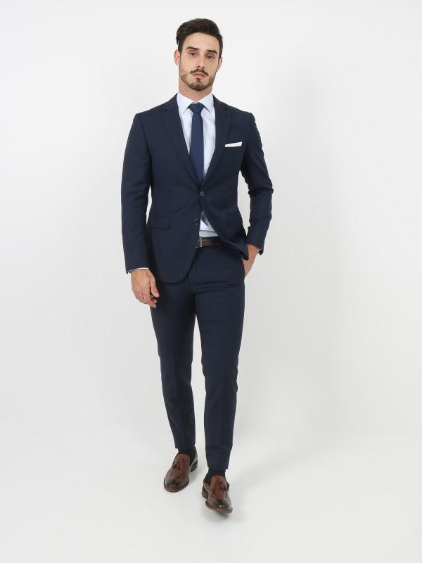 Regular fit stripes pattern virgin wool suit