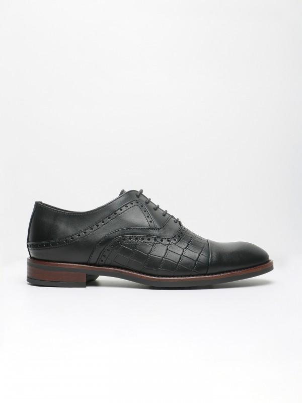 Sapato elegante pele com relevo