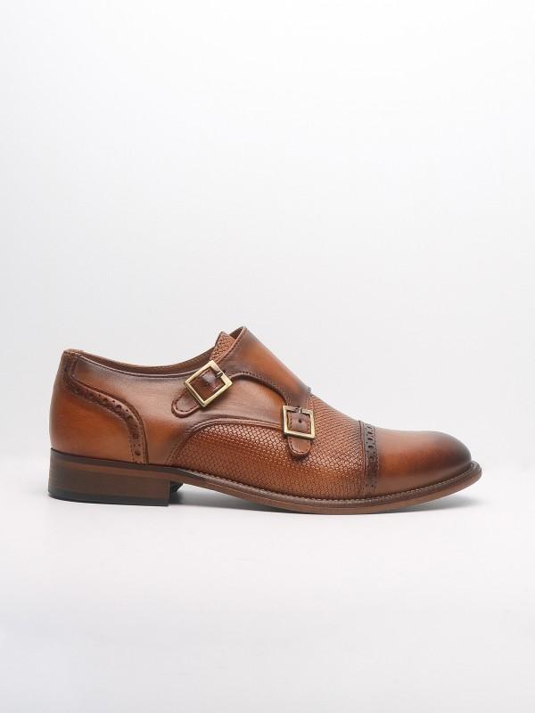 Buckled leather elegant shoes