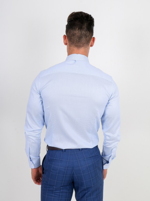 Slim fit micro structured classic shirt