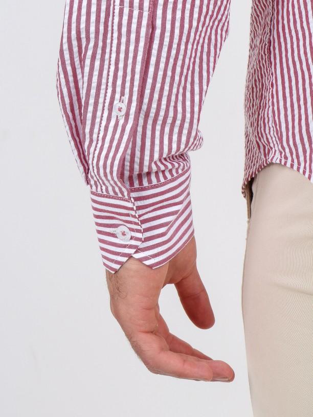 Striped pattern cotton shirt