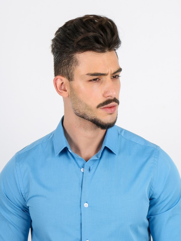 Slim fit plain classic shirt