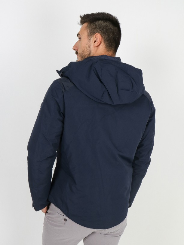 Technical jacket with interior view and hood