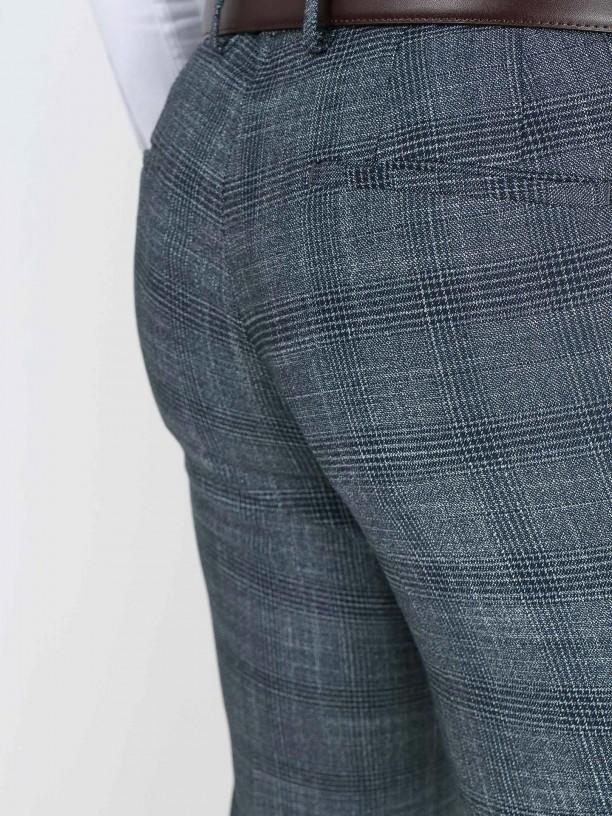 Fato padrão xadrez slim fit recycled fabric