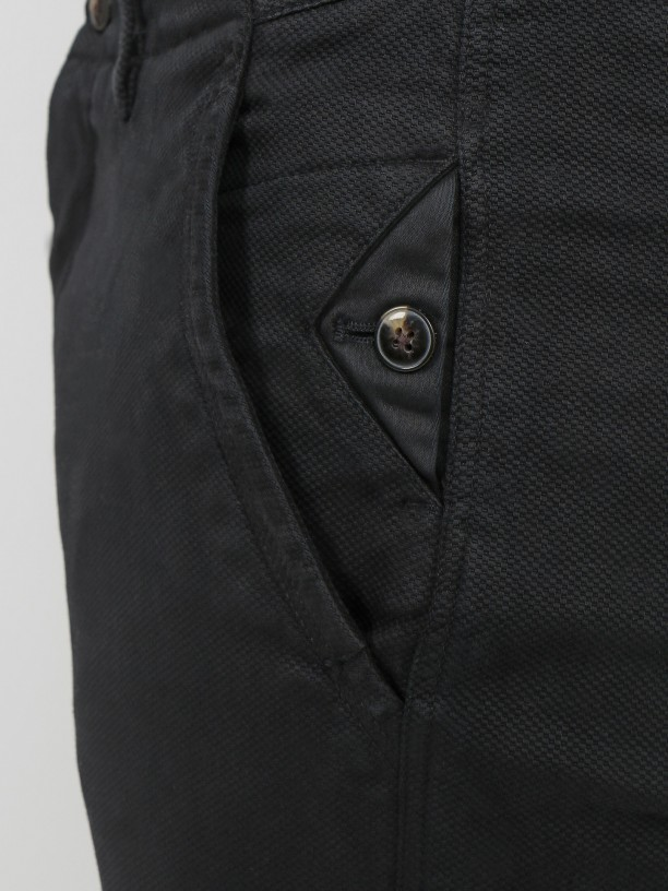 Slim fit structured cotton chino trousers