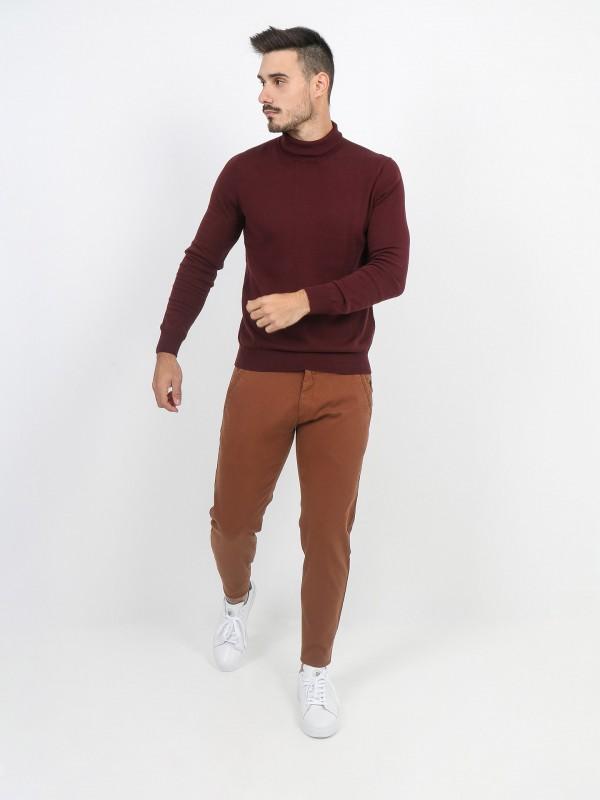 Calças chino algodão estruturado slim fit