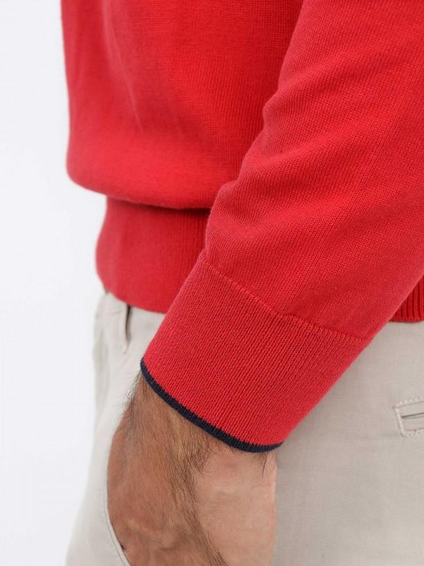 Camisola de malha algodão com contraste