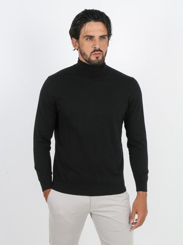 High neck cotton cashmere sweater