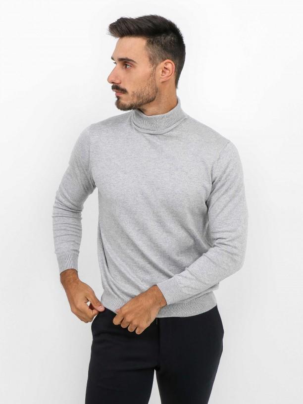 Jersey de cuello cisne algodón y cachemira