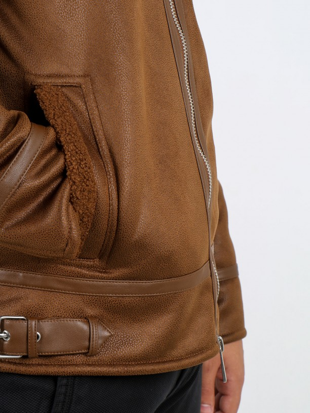 Aviator jacket with leather details
