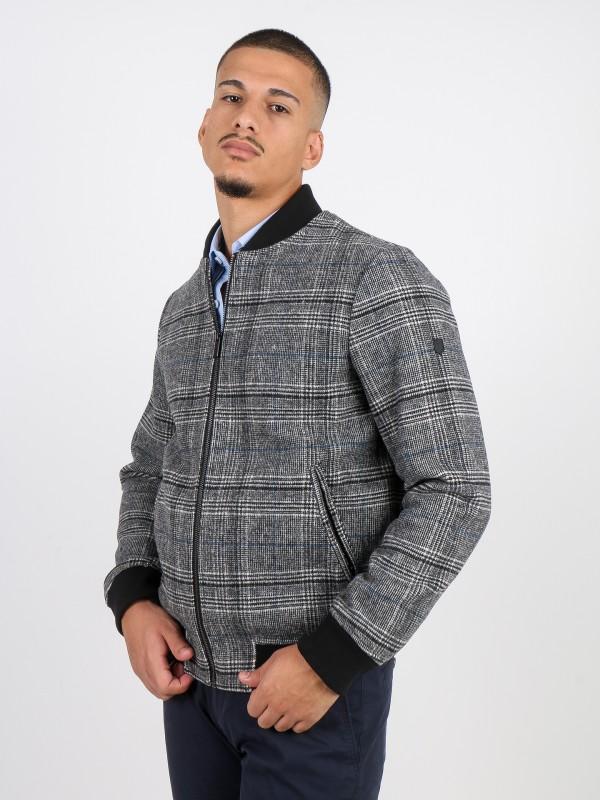 Checkered pattern wool bomber jacket
