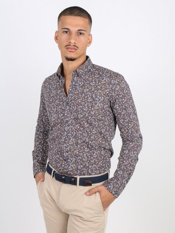 Flowery pattern cotton shirt