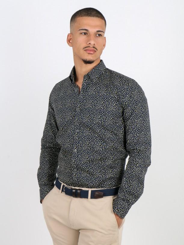 Leafs pattern cotton shirt