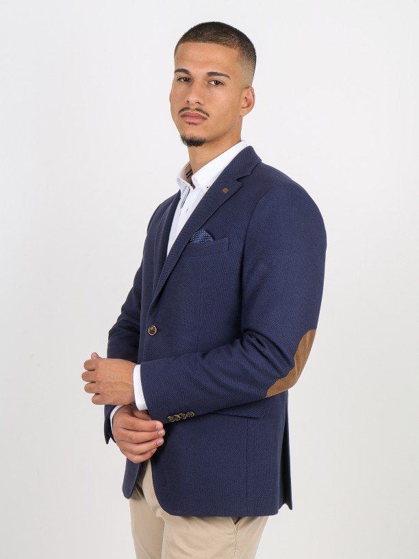 Structured cotton blazer with elbow pads