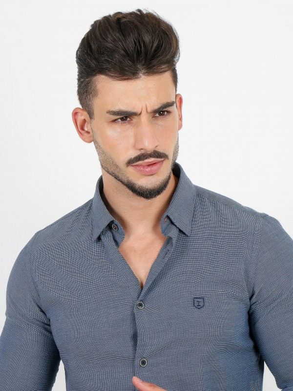 Cotton shirt with micro pattern