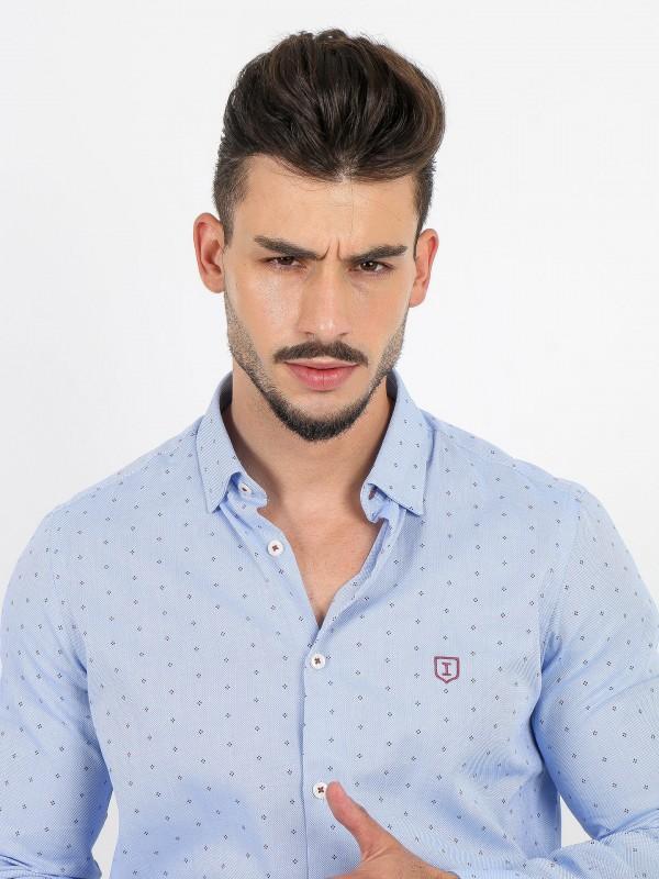 Micro pattern cotton shirt