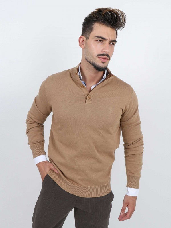 Knit sweater with button closure