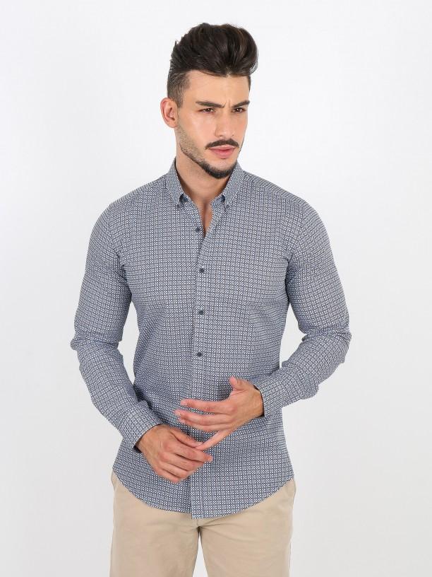Mosaic pattern cotton shirt