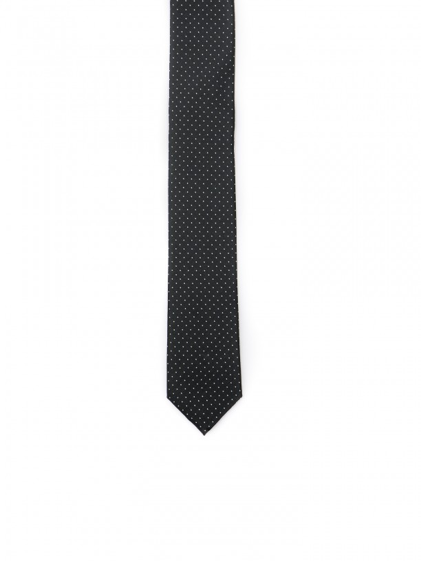 Slim tie with squares pattern