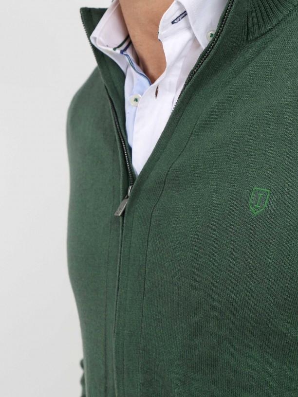 Cotton plain knit zip cardigan