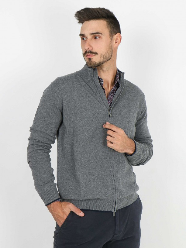 Cotton plain knit zip cardigan with elbow pads
