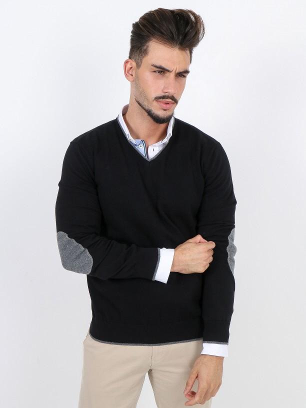Jersey de punto algodón con coderas
