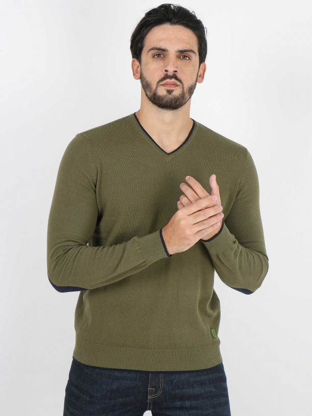 Cotton knit sweater with elbow pads