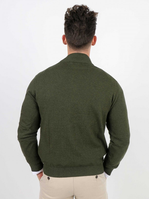 Knit sweater with half zip closure