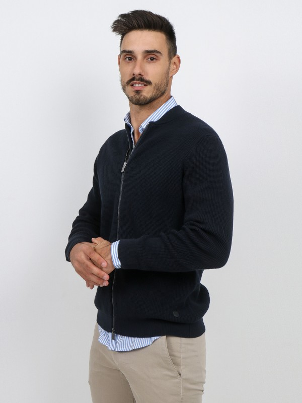 Cotton structured knit cardigan with leather detail